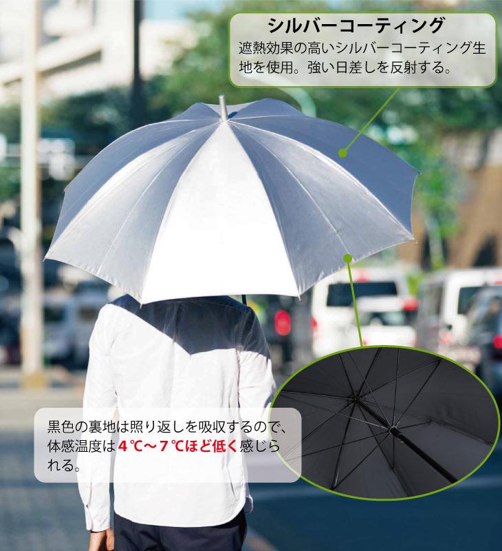 銀行員の日傘 折60cm|遮熱効果の高いシルバーコーティング生地を使用。強い日差しを反射する。黒色の裏地は照り返しを吸収するので、体感温度は4℃〜7℃ほど低く感じられる。
