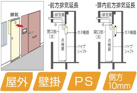 PS扉内設置/PS延長前排気型