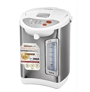電動給湯ポット 3.2L 保温温度3段階切替 シルバー×ホワイト GD-UP320
