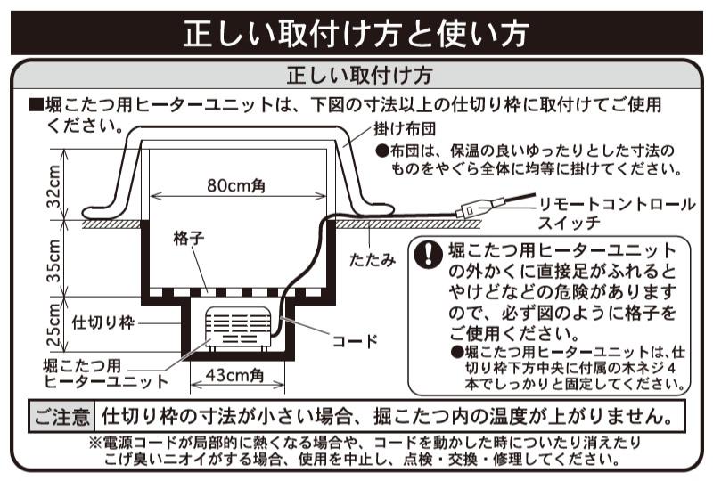 テクノス 掘こたつ用ヒーターユニット 説明図