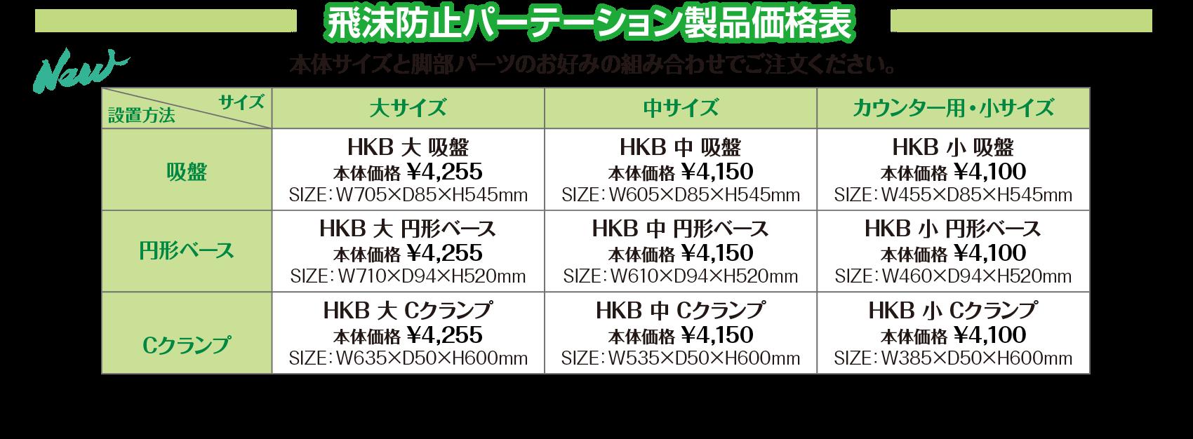 飛沫防止パーテーション製品価格表