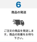 6 商品の発送 ご注文の商品を発送します。商品の到着をお待ち下さい。