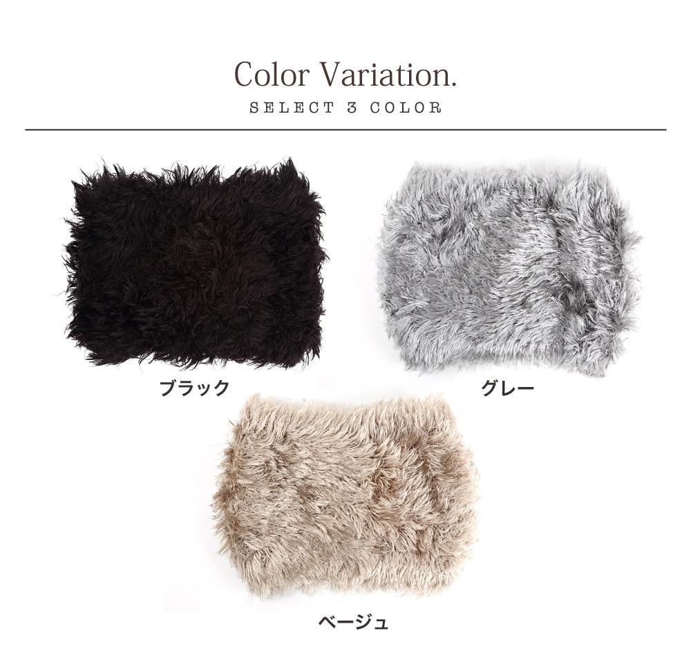 とってもよく伸びる生地です。黒とグレーとベージュはおそろいの色のネックウォーマーもあります。ぜひ一緒に着用してくださいね。