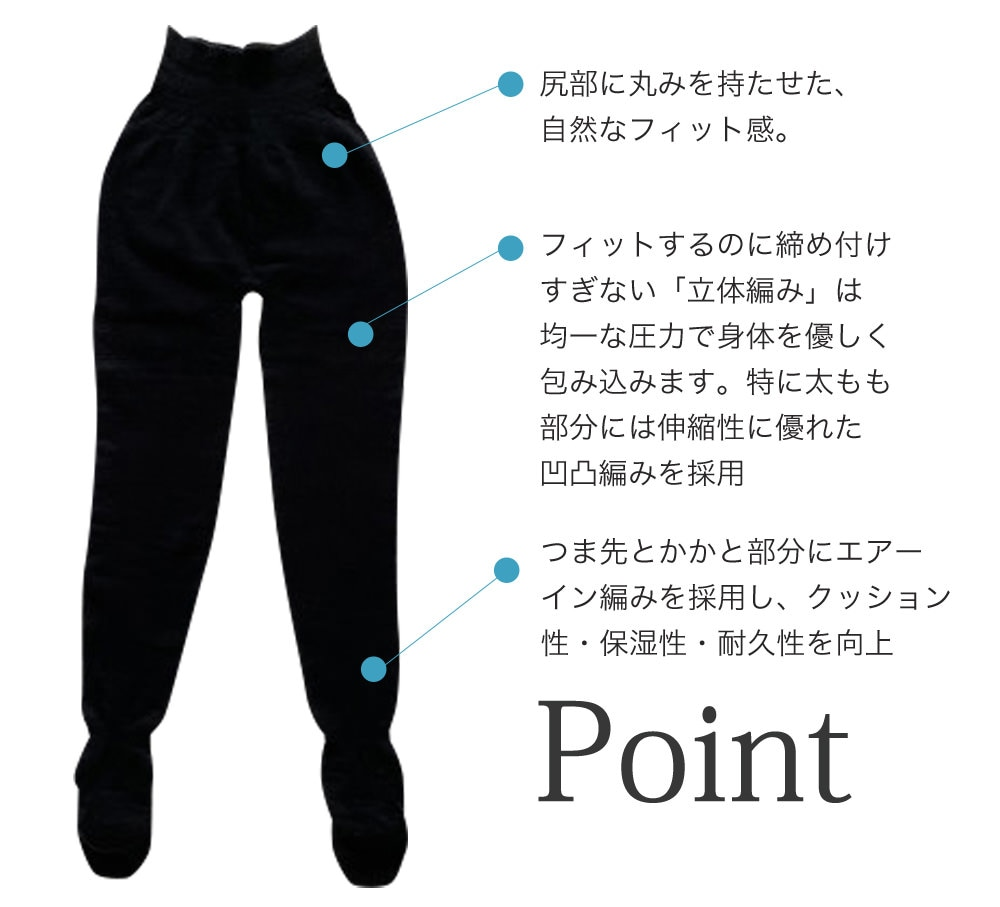 尻部に丸みを持たせた自然なフィット感。フィットするのに締め付け過ぎない立体編みは均一な圧力で体を優しく包み込みます。特に太もも部分には伸縮性に優れたおうとつ編みを採用。つま先とかかと部分にエアーイン編みを採用しクッション性、保湿性、耐久性を向上