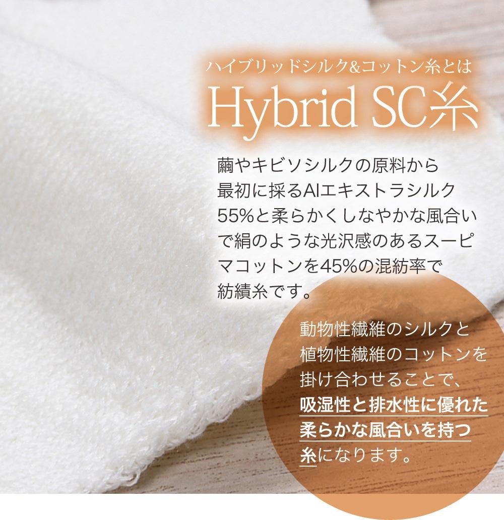 Hybrid SC糸(ハイブリッド シルク&コットン糸)とは繭やキビソシルクの原料から最初に採るAIエキストラシルク55%と柔らかくしなやかな風合いで絹のような光沢感のあるスーピマコットンを45%の混紡率で紡績した国産紡績糸です。動物性繊維のシルクと植物性繊維のコットンを掛け合わせることで、吸湿性と排水性に優れた柔らかな風合いを持つ糸になります。