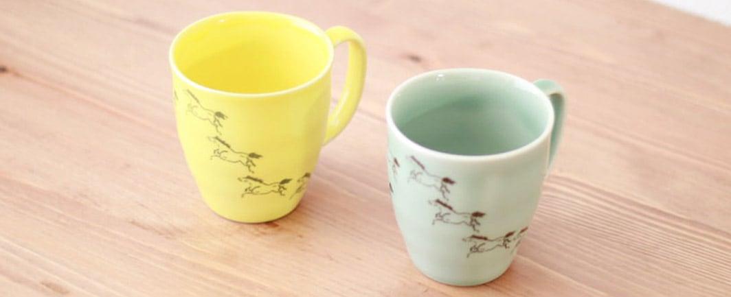 馬九行久(うまくいく)マグカップ 2色セット