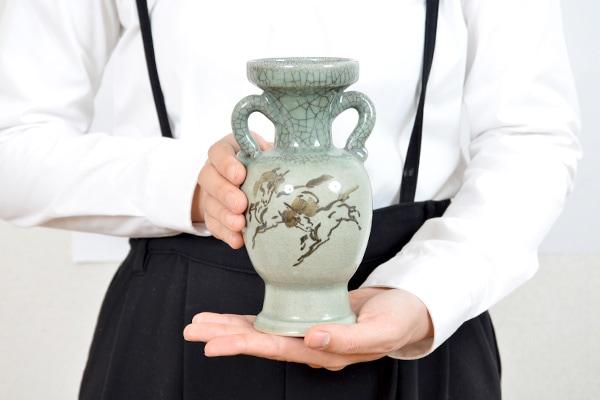 大堀相馬焼 松永窯 耳付き花瓶(小)