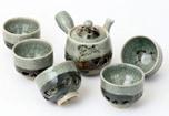 大堀相馬焼 松永窯 二重急須・二重煎茶碗5個 茶器揃えセット