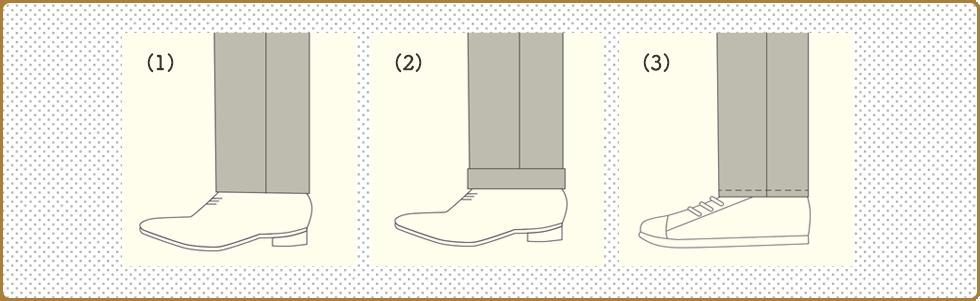 スラックスの裾仕上げの種類