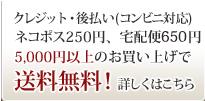 クレジット・コンビニ支払対応。ネコポス250円、宅配便650円。5,000円以上のお買い上げで送料無料!