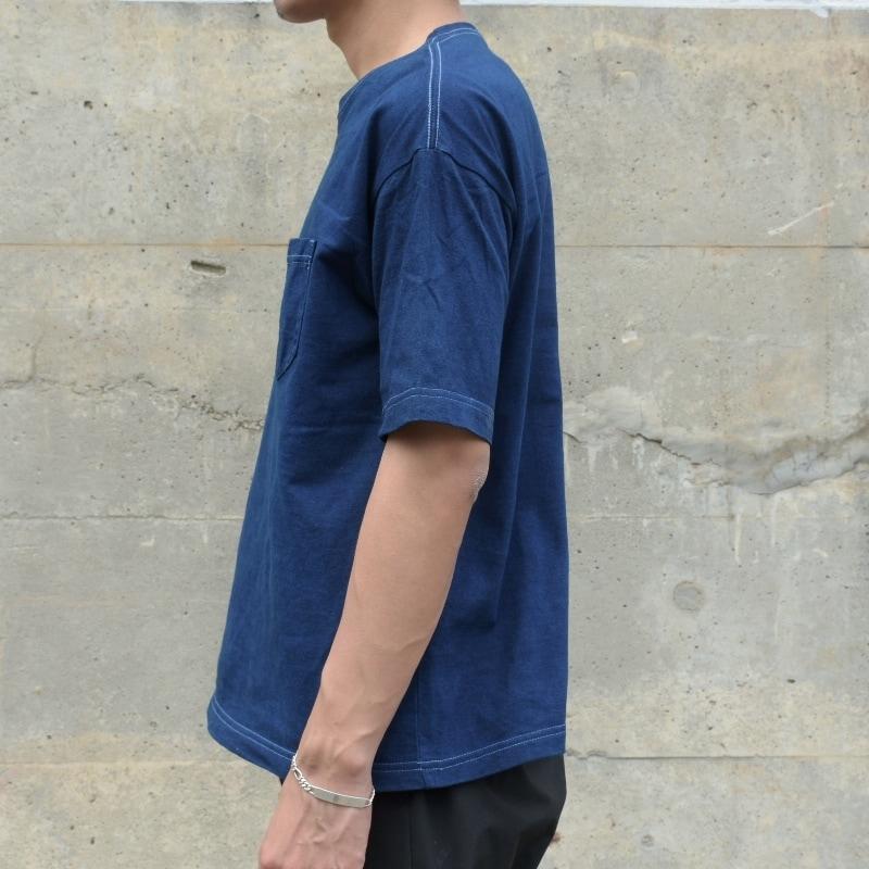 メンズ 藍染め ビッグシルエット BigTシャツ 半袖 ボケット ロールアップ ゆったり