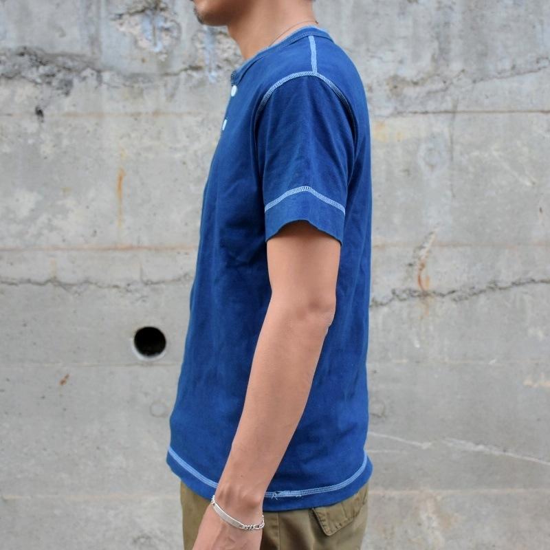 藍染め 半袖 ヘンリーネック Tシャツ メンズ コットン ボタン 濃紺 染物 アメカジ