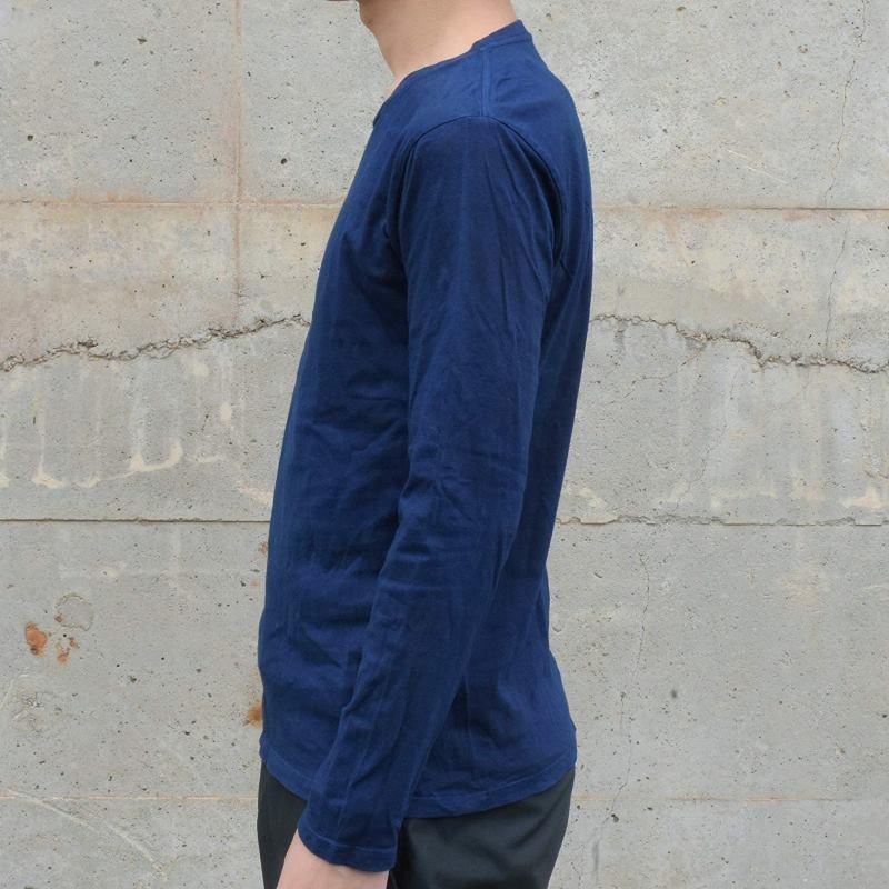 メンズ 藍染め ロンT ロングスリーブ Tシャツ 長袖 コットン 綿 濃紺 薄手 シンプル