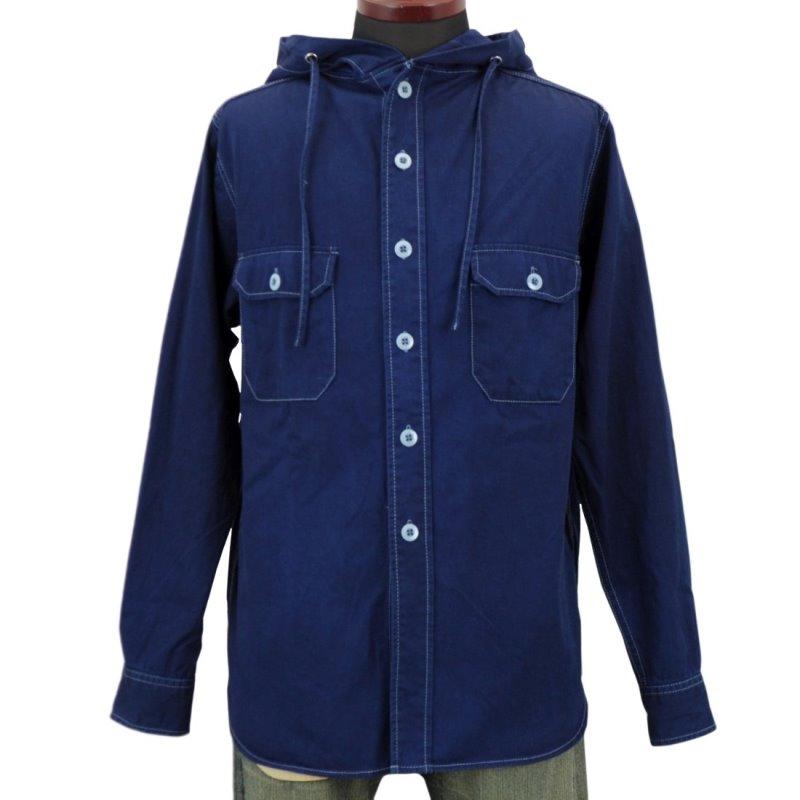 メンズ 藍染め 長袖 シャツパーカー ツイル お洒落 可愛い コットン フード アメカジ