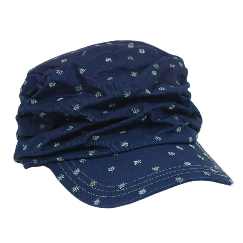 藍染め 水玉 しわしわ ワークキャップ 帽子 刺繍 レディース キャップ コットン 可愛い カジュアル