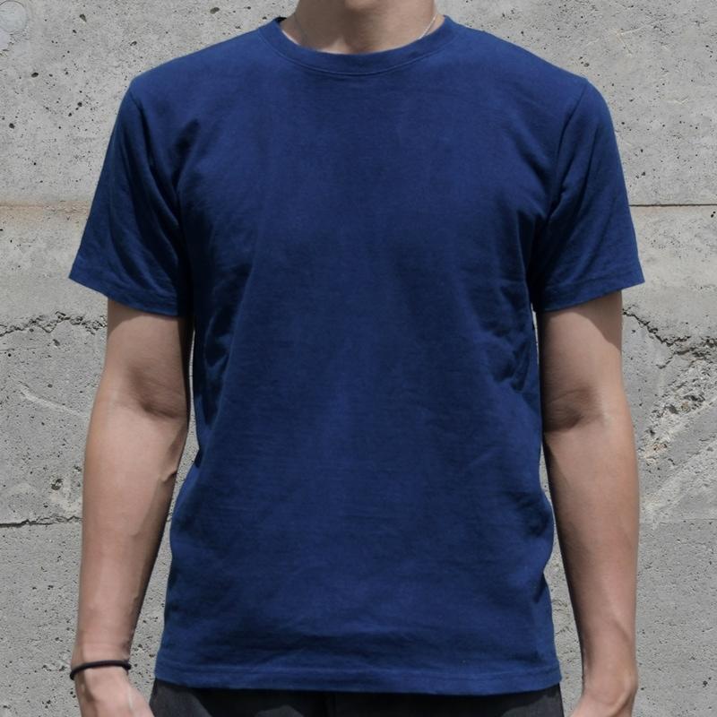 メンズ 藍染め 半袖 Tシャツ ヘビーウェイト コットン 肉厚 アメカジ 濃紺 綿 シンプル
