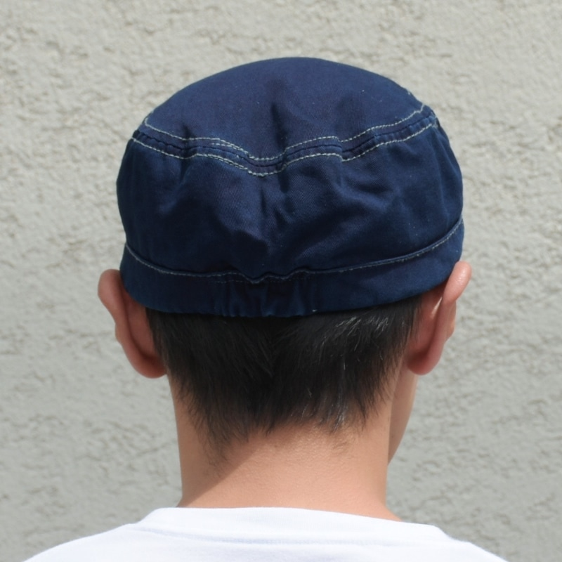 藍染め ワークキャップ CAP 帽子 コットン ゴム ミリタリー カジュアル メンズ レディース