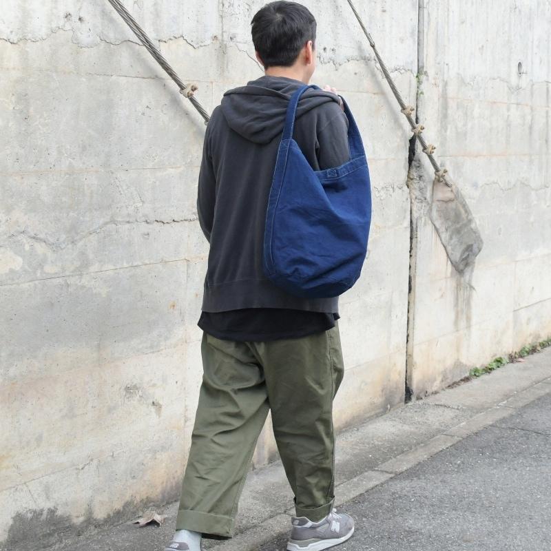 藍染め キャンバス バケット バッグ トートバッグ ワンショルダーバッグ 円柱 筒型 メンズ レディース