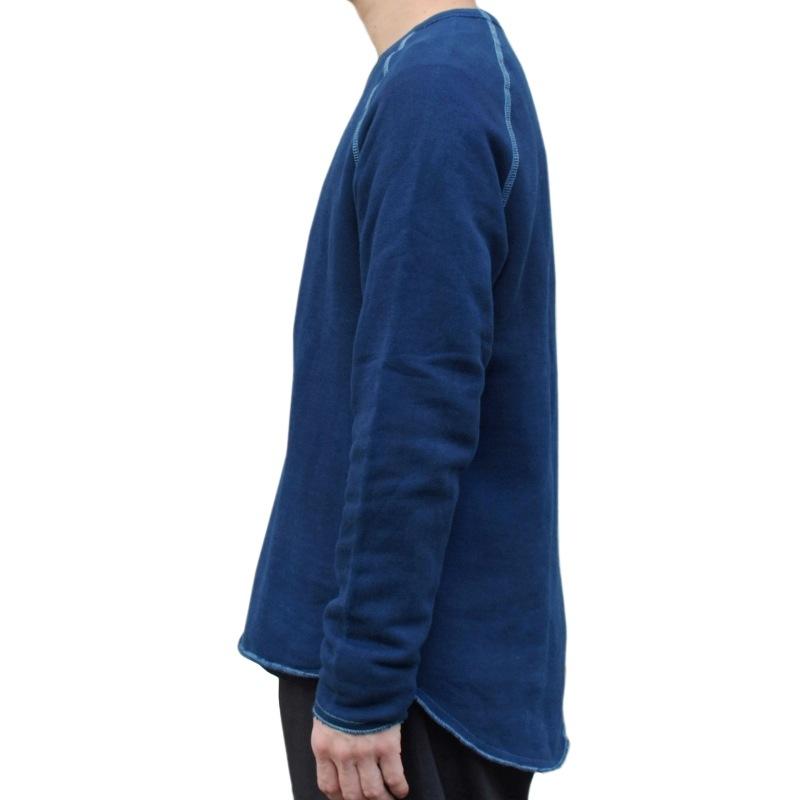 メンズ 藍染め クルーネック カットオフ スウェット トレーナー 長袖 コットン Lサイズ