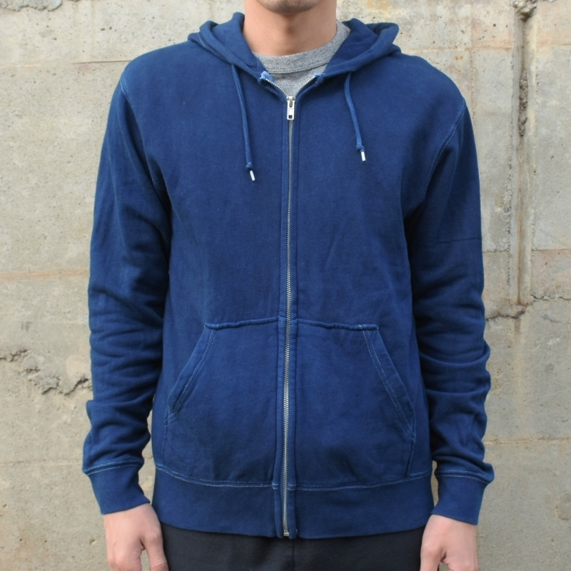 メンズ 藍染め ジップパーカー スウェット 長袖 コットン 綿 濃紺 ジップアップ トレーナー