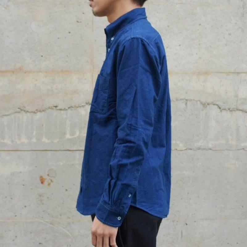 メンズ 藍染め ボタンダウン 長袖 オックスフォードシャツ ロングスリーブ shirt コットン 綿