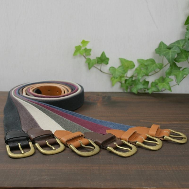 名入れ 刻印付 ヴィンテージ ベルト ヌメ革 真鍮 コットン 綿 レザー メンズ レディース オーダー シンプル
