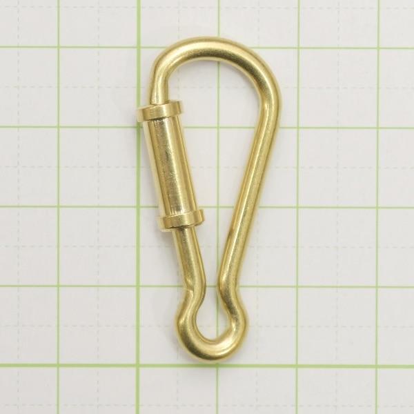 真鍮 キーナス ナスカン バネナスカン バネ式 3個セット キーホルダー パーツ 無垢 生地 金色
