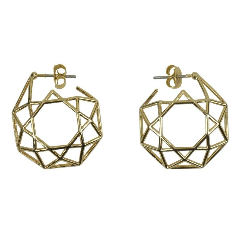 真鍮 オクタゴン 八角形 ピアス ゴールド ペア プレゼント ギフト 可愛い 高級感 お洒落