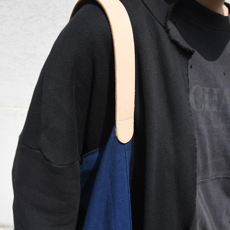 インディゴ コットン リネン レザー キャンバス M トートバッグ 綿 麻 帆布 可愛い お洒落 ラフ ヌメ革