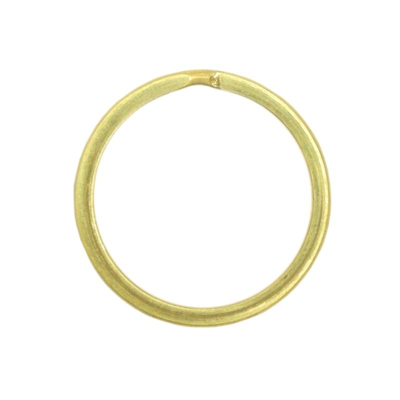 真鍮 二重キーリング キーホルダー パーツ 二重リング 平押し 無垢 生地 金色 内径25mm 外径30mm