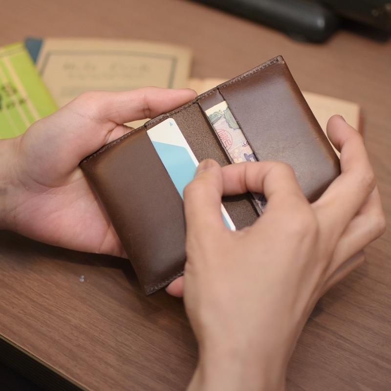 名入れ 刻印付き ヌメ革 カードケース レザー メッセージ ICカード