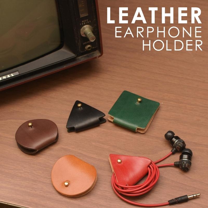 名入れ 刻印付き ヌメ革 丸 三角 四角 イヤホンコードホルダー レザー コードホルダー USB 充電器