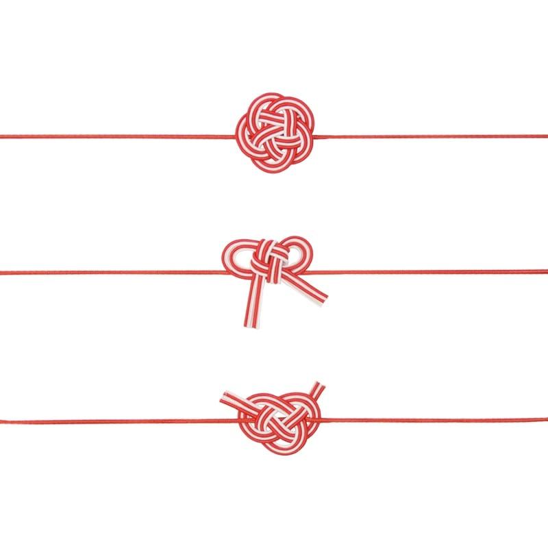 花結び あわじ結び 梅結び 水引き 小 ラッピング ギフト包装 資材 プレゼント 御祝い ポチ袋 紅白
