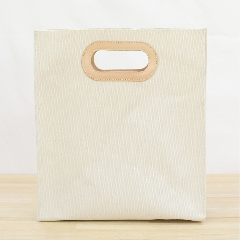 1号帆布 ペーパーバッグ Sサイズ トートバッグ canvas キャンバス 極厚 ヌメ革 シンプル 綿 コットン 名入れ 刻印
