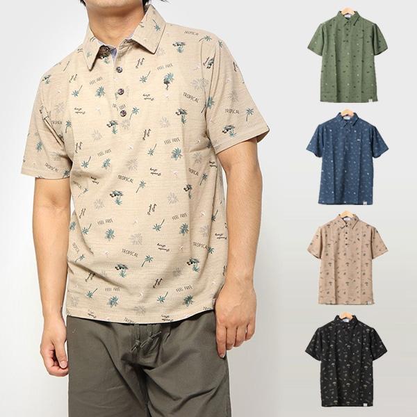 梨地総柄プリントポロシャツの商品イメージ