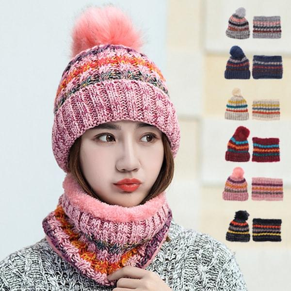 スヌード&ファー付ニット帽の商品イメージ
