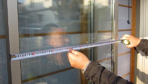 サッシ(障子)のW:横幅を計測