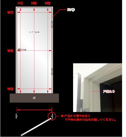 1. まずは、ドア枠の開口寸法を計測ください