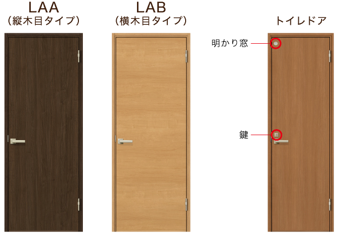 LAA(縦木目タイプ)とLAB(横木目タイプ) トイレドア(鍵と明かり窓付)