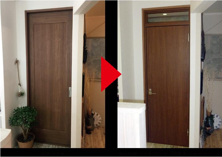 既存ドアを室内防音ドア&ランマ(防音合わせガラス)に