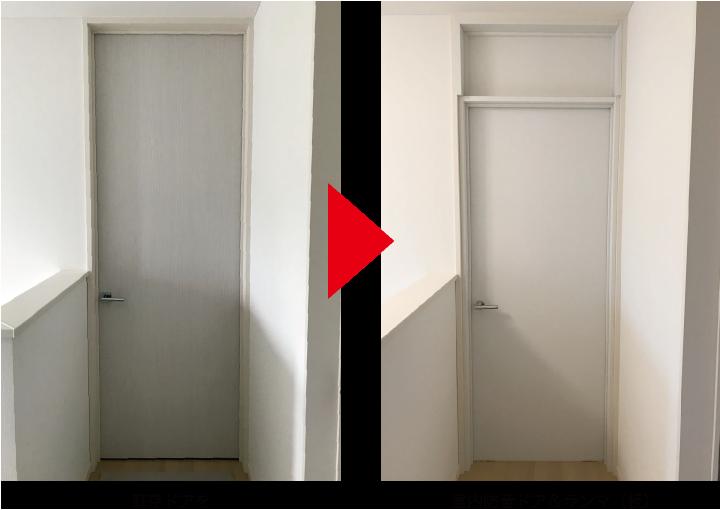 既存ドアを室内防音ドア&ランマ(板)に
