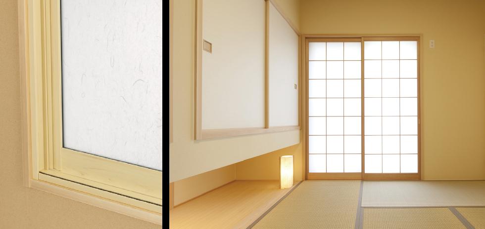 内防音引戸(内窓プラスト)のカラー:檜(ヒノキ)