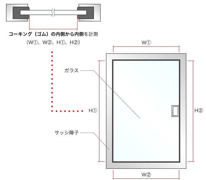 コーキング(ゴム)の内側から内側を計測 (H�、H�、W�、W�) ガラス、サッシ障子