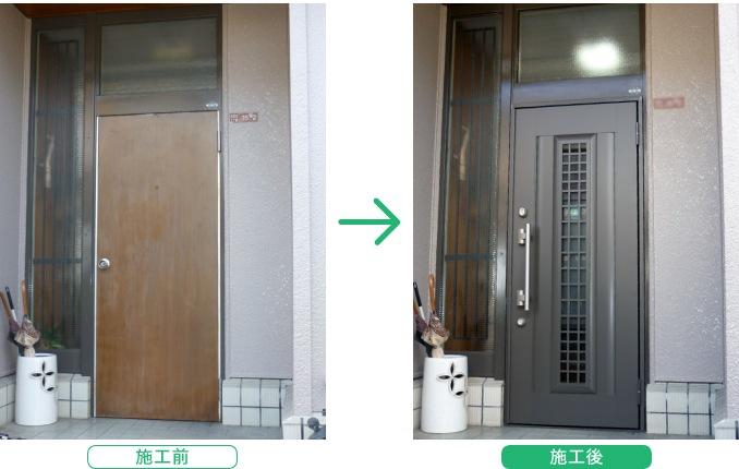 LIXIL リシェント アルミ仕様 C20型 の導入事例  ドアタイプ:片開き ドアカラー: オータムブラウン(AG)