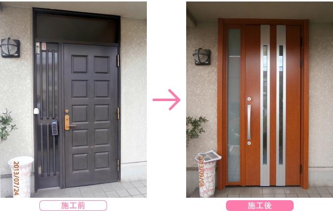 LIXIL リシェント 断熱仕様k4 F13型 の導入事例  ドアタイプ:両袖 ドアカラー:ハンドダウンチェリー(CC) ランマ付ドアをランマなしドアにリフォーム。