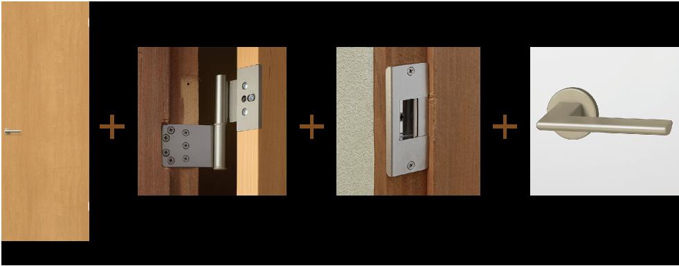 室内ドアのセット内容:ドア本体+丁番+調整ストライク+把手