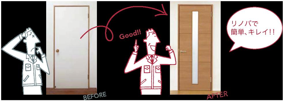 リノバ室内ドアの施工前と施工後