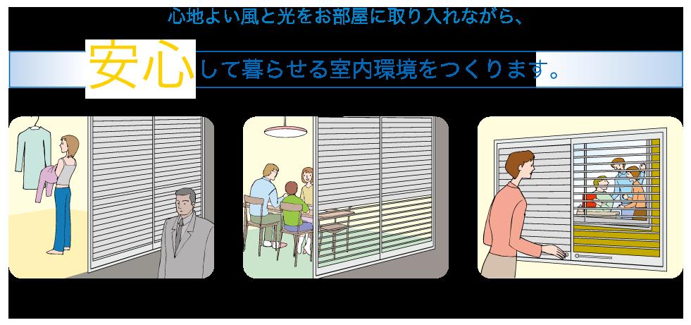 心地よい風と光をお部屋に取り入れながら、 安心して暮らせる室内環境をつくります。 外部の視線からプライバシーを守ります