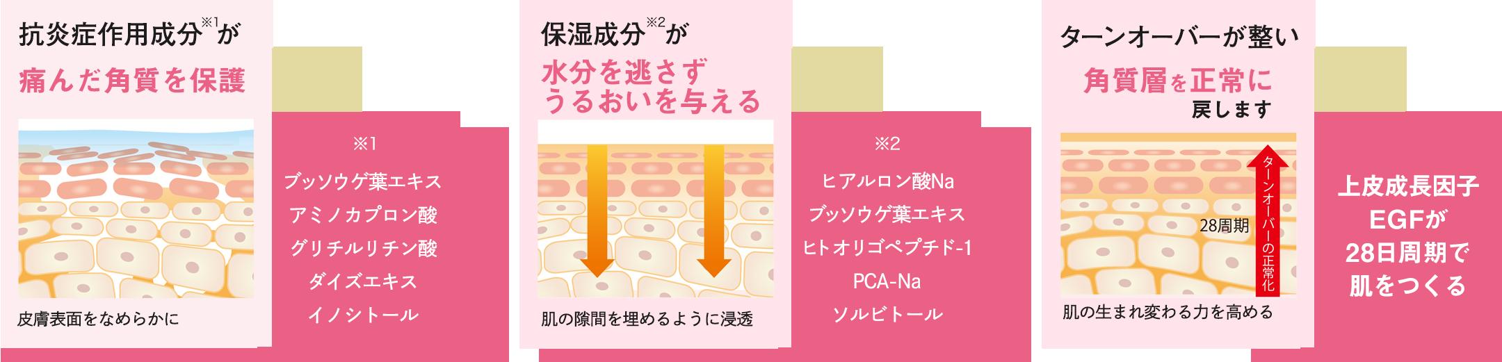 抗炎症作用成分が痛んだ角質を保護 保湿成分が水分を逃さずうるおいを与える ターンオーバーが整い角質層を正常に戻します