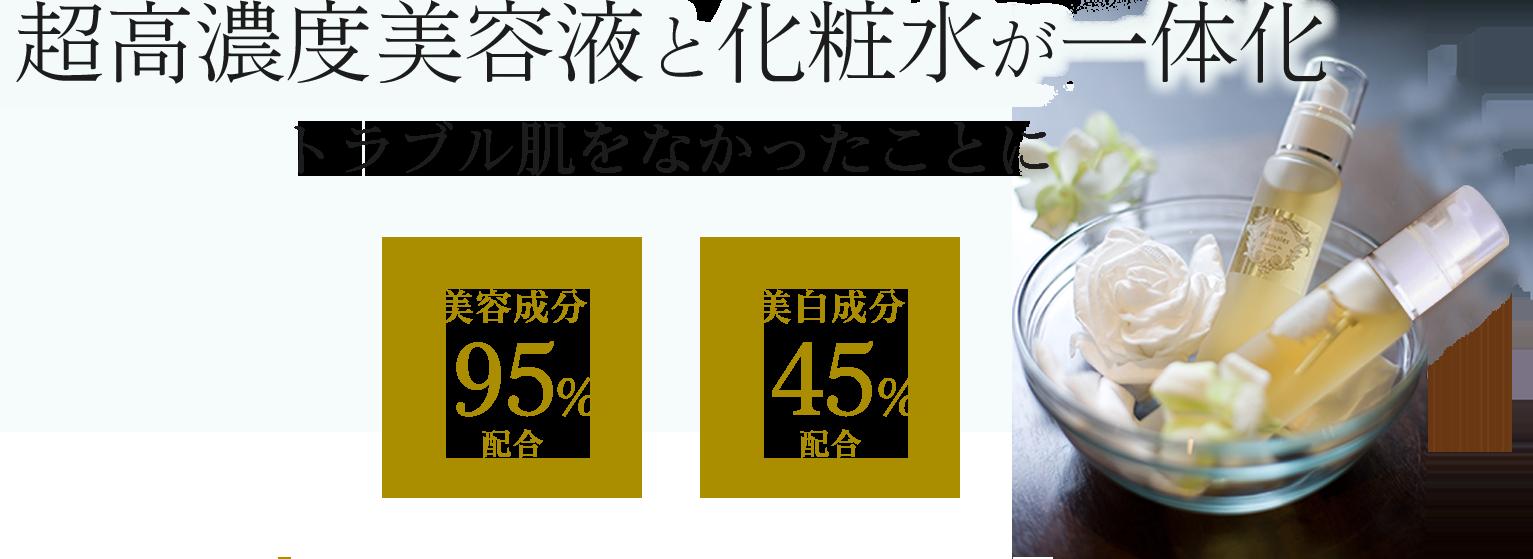 超高濃度美容液と化粧水が一体化 トラブル肌をなかったことに 美容成分95%配合 美白成分45%配合